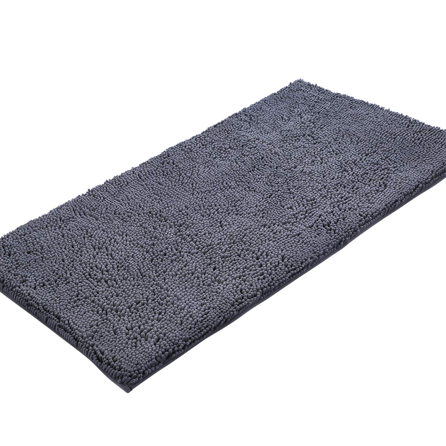 KMAT Bath Mat for Bathroom, 47''x 28'' Chenille Bathroom Rug Machine-Washable Extra Soft and Absorbent Large Long Bathmat Shaggy Bath Rug, Non-Slip and Non-Shedding Bathroom Floor Mat Shower Rug (Grey)