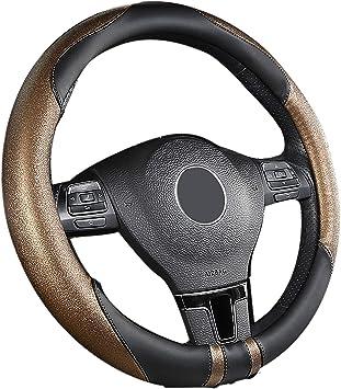 Sfonia Auto Lenkrad Abdeckung Lenkradschutz Lenkradhülle Mikrofaser Leder Universal 37 38cm 15 Rutschfest Atmungsaktiv Langlebig Braun Auto