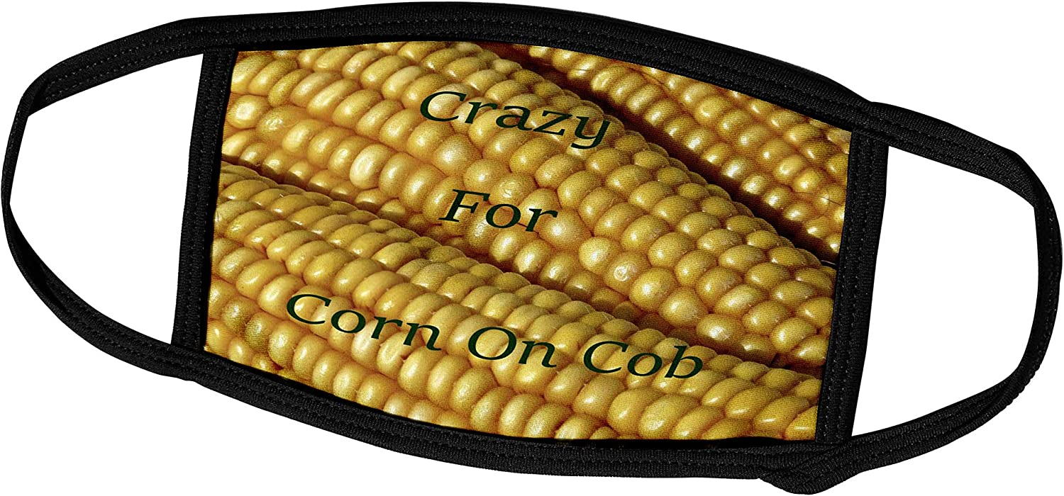 3dRose Lens Art by Florene - Crazy for Different Food - Image of Words Crazy for Corn On Cob On Photo of Corn - Face Masks (fm_309998_1)