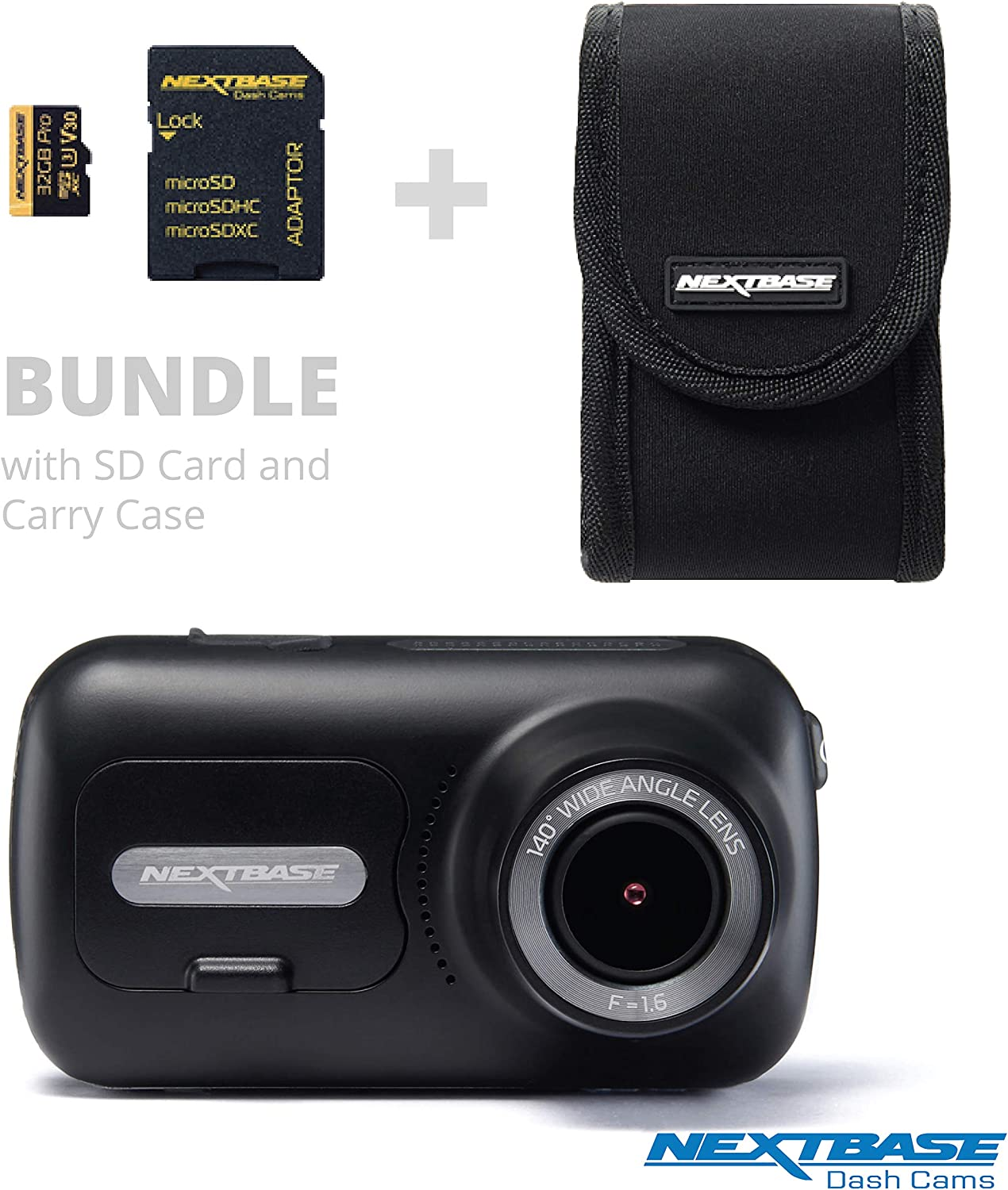 """Nextbase 322GW Dash Cam 2.5"""" HD 1080p Touch Screen (Bundle Kit with Carry Case and 32GB U3 MicroSD Card Included)"""
