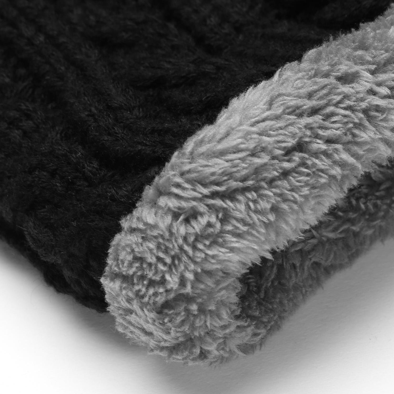 olseti Women Men Fashion Fleece Contrast Color Beanie Knitted Warm Winter Hats & Caps