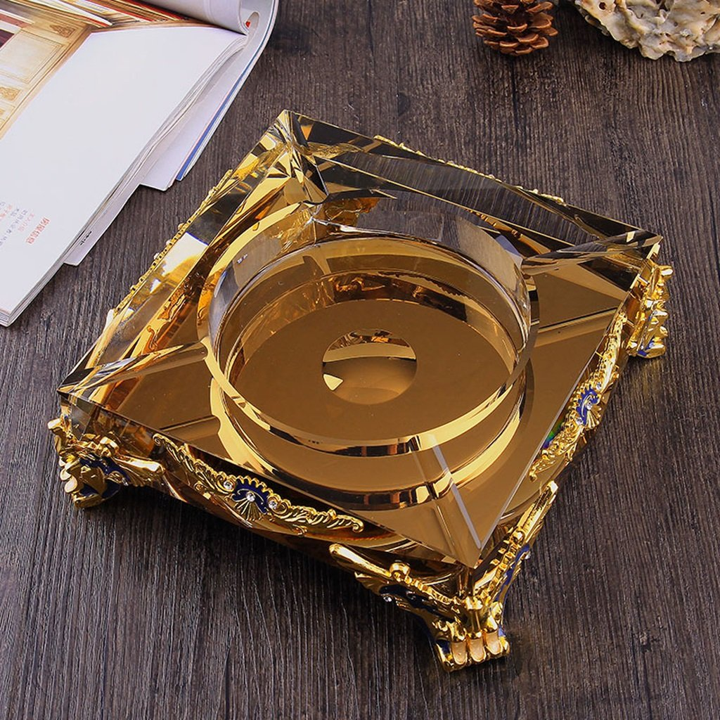 Home Ashtray Crystal Glass Cigarettes Windproof Living Room Coffee Table Multi-function Indoor And Outdoor Ashtray ( Size : 20CM )