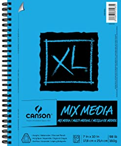 Canson XL Series Mix Media Paper Pad, Heavyweight, Fine Texture, Heavy Sizing for Wet and Dry Media, Side Wire Bound, 98 Pound, 7 x 10 Inch, 60 Sheets - 100510926