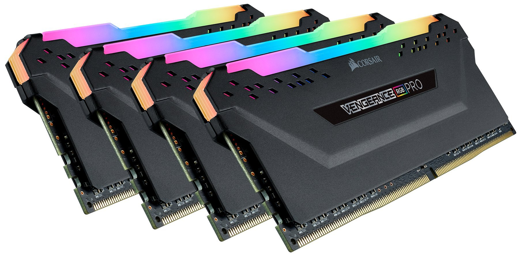 Corsair CMW64GX4M4C3200C16 Vengeance RGB PRO 64GB (4x16GB) DDR4 3200 (PC4-25600) C16 Desktop Memory Black by Corsair