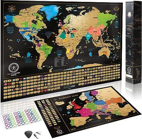 Wanderlust Mapa Mundi Rascar y Mapa Rascable Europa, Color Negro y Dorado, 61 x 43 Centímetros, Hechos en Europa: Amazon.es: Hogar