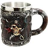 Atlantic Collectibles Pirates of Caribbean Seas Bandana Skull With Cross Swords Tankard Coffee Beer Mug Cup