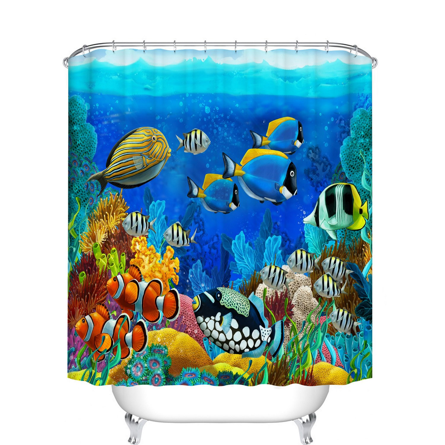 Fangkun Bathroom Shower Curtain Blue Ocean Tropical Fish Coral Undersea World Design - Polyester Fabric Waterproof Bath Curtains Decor Set - 12pcs Hooks - 72 x 72 inches