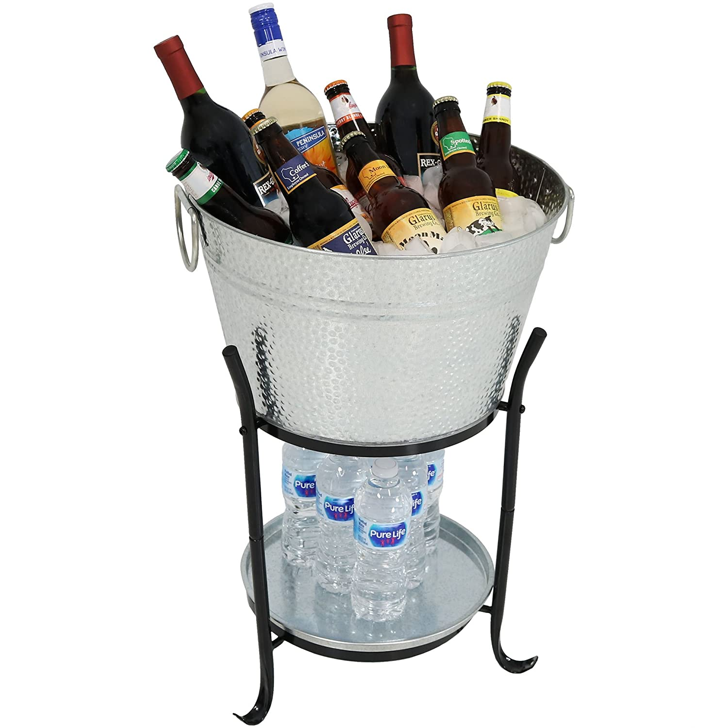 Sunnydaze Ice Bucket Drink Cooler with Stand and Tray for Parties, Pebbled Galvanized Steel, Holds Beer, Wine, Champagne and More Sunnydaze Decor