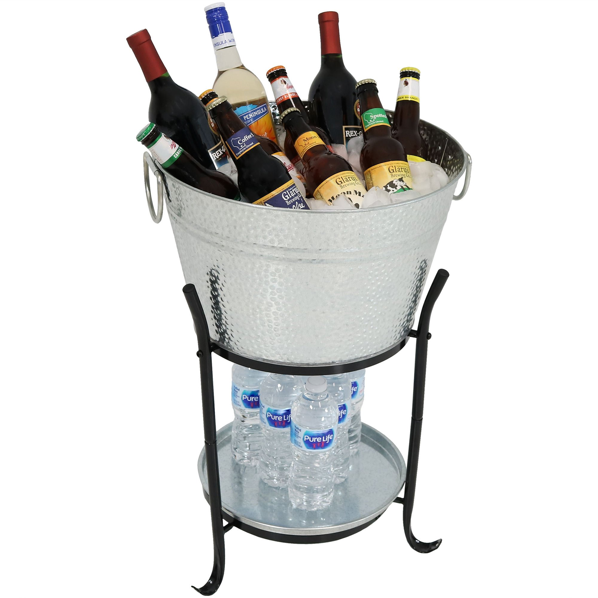 Sunnydaze Ice Bucket Drink Cooler with Stand and Tray, Pebbled Galvanized Steel, Holds Beer, Wine, Champagne and More