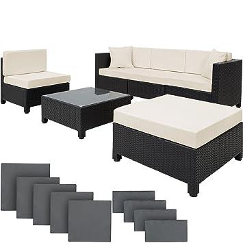 TecTake Conjunto Muebles de Jardín en Poly Ratán Aluminio, Negro.
