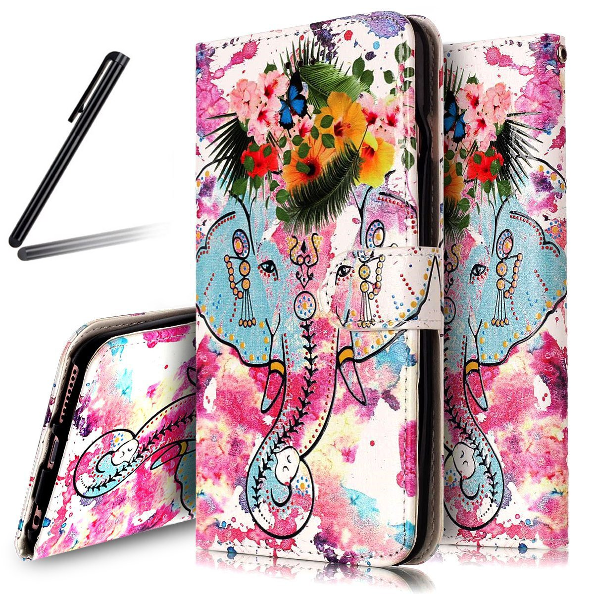 Huawei P10 Lite Case, Huawei P10 Lite Wallet Case, Huawei P10 Lite PU Flip Stand Case, SKYMARS Huawei P10 Lite Cover Gloss Skin 3D Creative Design PU Leather Flip Kickstand Cards Slot Wallet Magnet Stand Fit Case for Huawei P10 Lite Flower Elephant