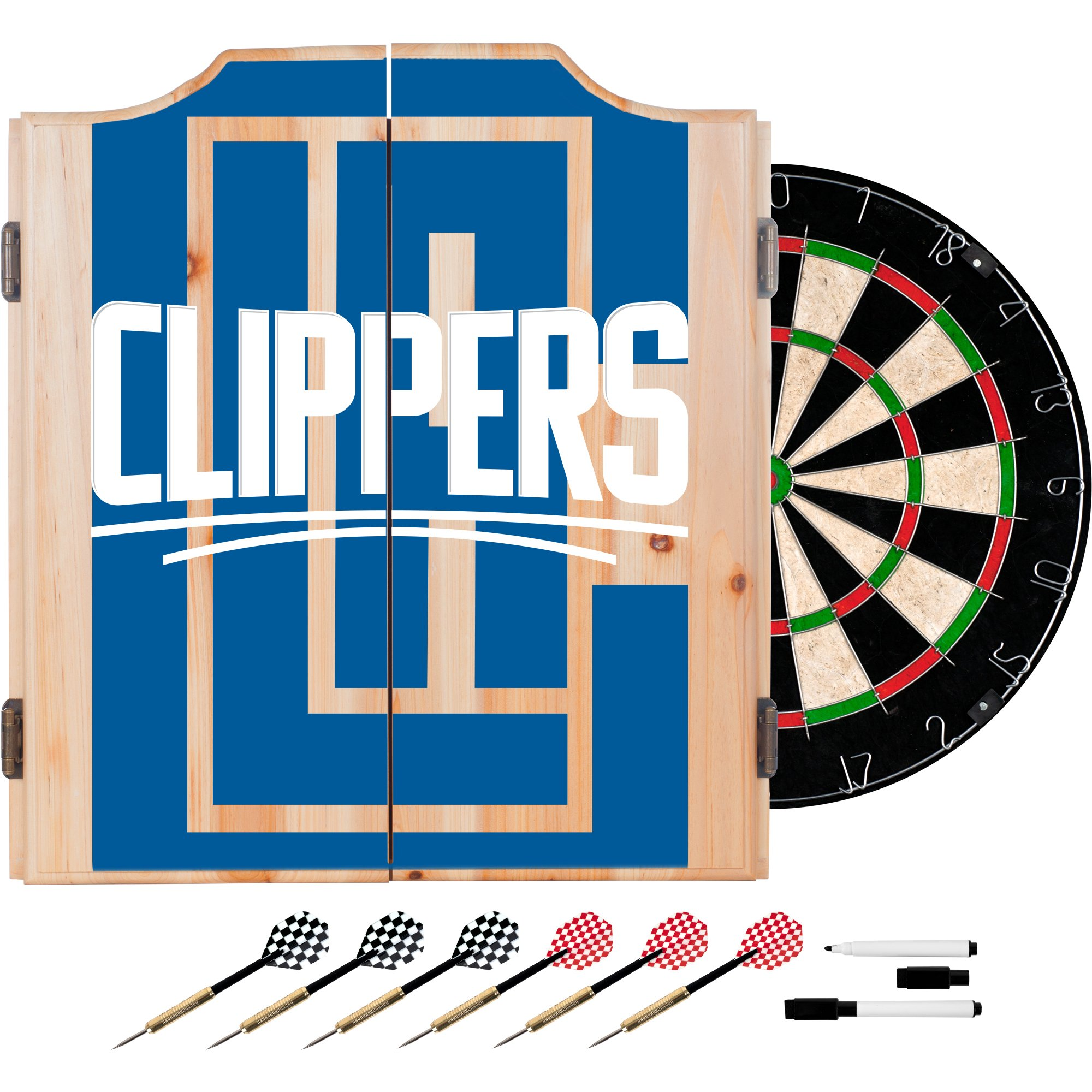 Trademark Gameroom NBA7010-LAC2 NBA Dart Cabinet Set with Darts & Board - Fade - Los Angeles Clippers by Trademark Global