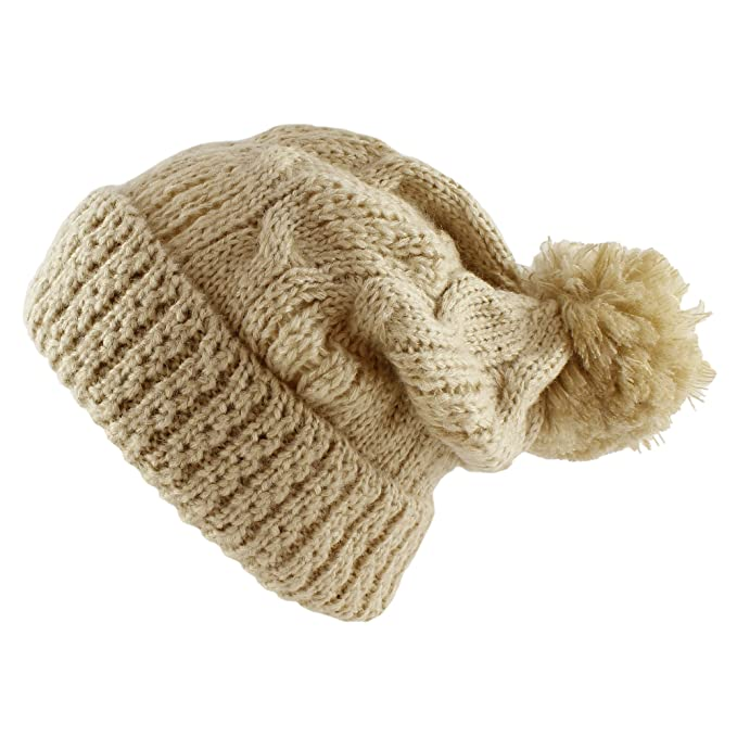 Morehats Large Pom Pom Soft Crochet Thick Knit Slouchy Beanie Winter Ski Hat  - Beige 99bb700ec50e