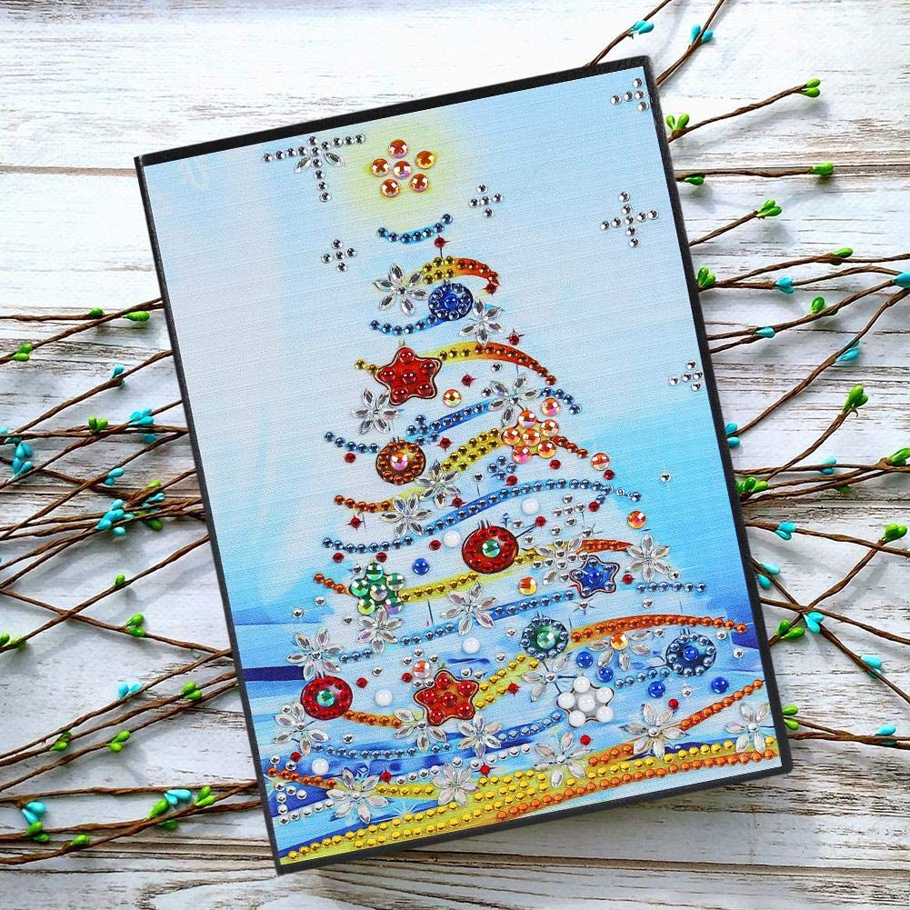 MKChung DIY Christmas Tree Special Shaped Diamond Painting 60 Pages A5 Notebook