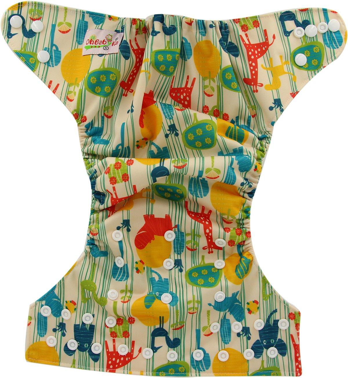 Ohbabyka Pañales unisex de tela estilo bolsillo para bebés con 1 tela interna de gamuza suave OB101-Green Animal Talla:talla única: Amazon.es: Bebé