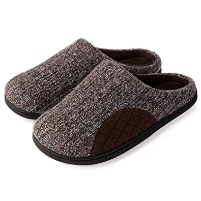 6d5025982bb5c1 ULTRAIDEAS Men s Cashmere Cotton Knitted Slippers with Cozy Memory Foam and  Fuzzy Coral Fleece Lining