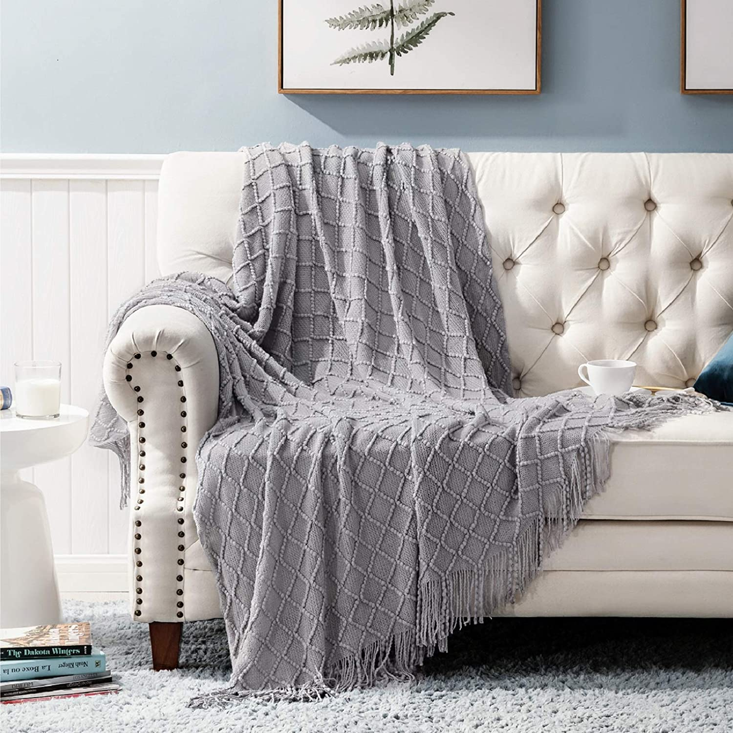 Amazon.com: Bedsure Throw Blanket For Couch, Knit Woven Blanket, 50×60 Inch - Cozy Lightweight Decorative Blanket With Tassels For Couch, Bed, Sofa, Travel - All Seasons Suitable For Women, Men And Kids (