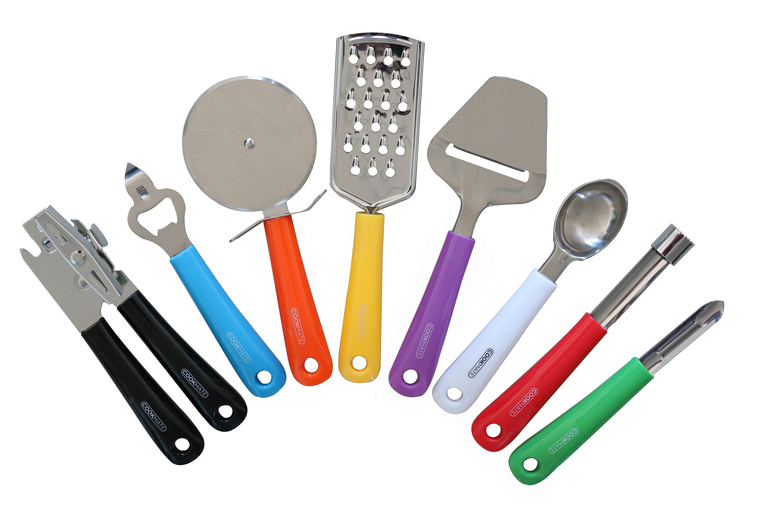 Unity-Frankford 8 Piece Kitchen Gadgets - Stainless Steel - Colorful Handles - BPA Free