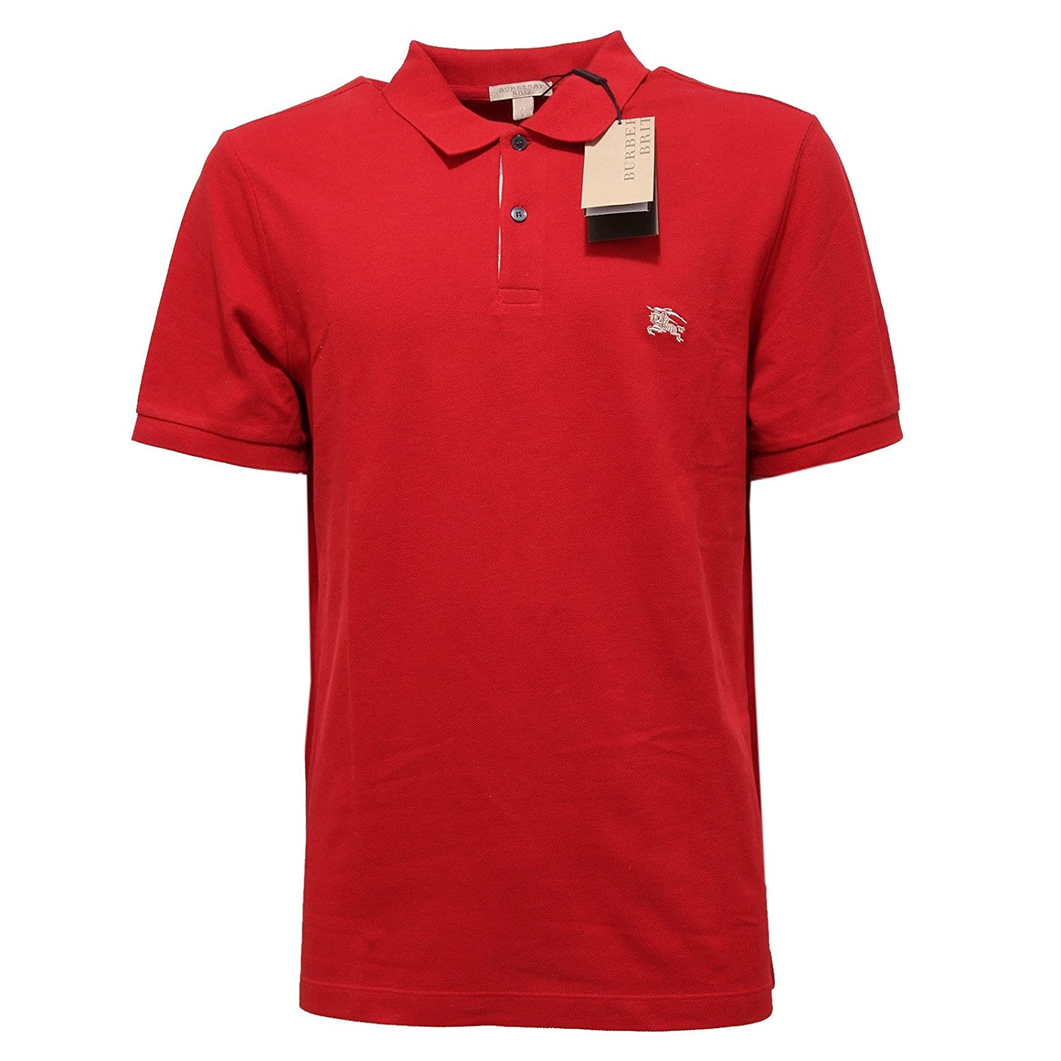 07303c5f8886 outlet Burberry Brit Men s Check Placket Pique Military Red Polo Shirt  Modern Fit (Large)