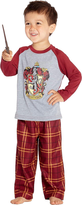 HARRY POTTER Los chicos Raglan camisa y pantalones Pijama Plaid Set- (Gryffindor, 2T)