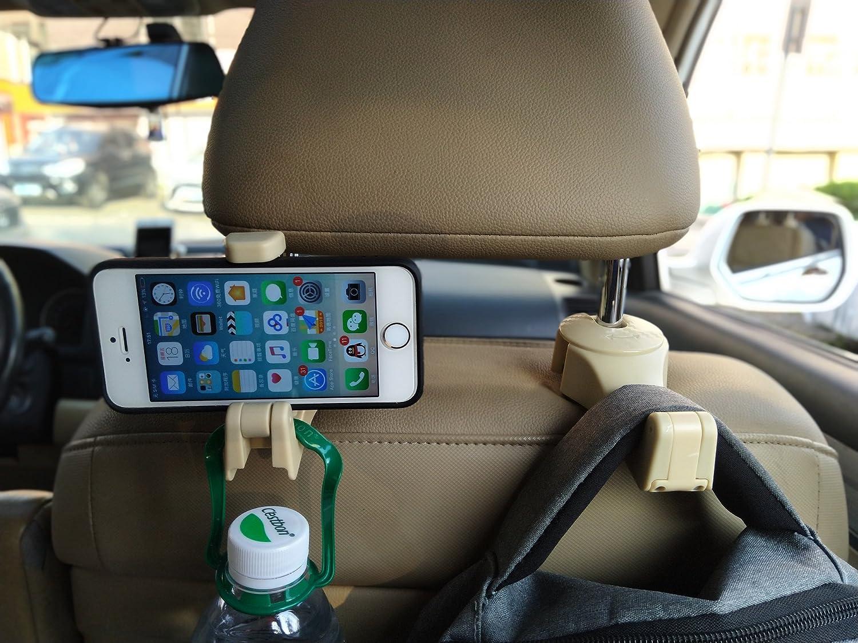 URBEST Car Backseat Hooks Phone Holder 2 Pack Universal Car Headrest Hanger with Lock for Holding Phones and Hanging Bag Black