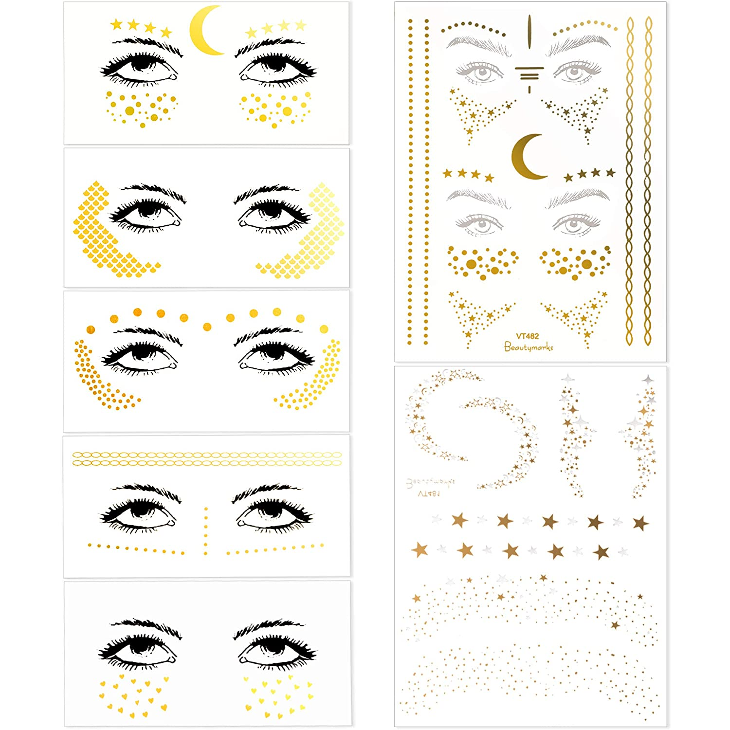 7 Sheets Face Tattoo Stickers Metallic Party Face Stickers Temporary Face Tattoos Gold Silver Glitter Face Decals for Women Girls Make Up (15 Styles)