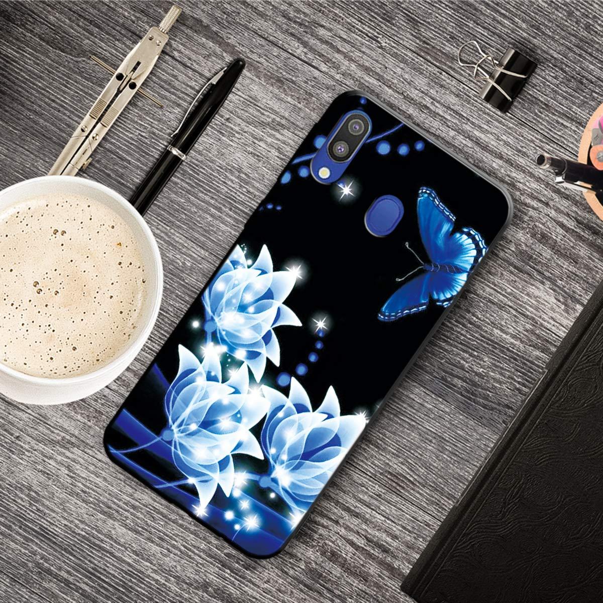 Carcasa para Samsung Galaxy A20 Silicona Antigolpes Suave Flexible TPU Ultra Delgado Ligero Gel Goma Cubierta Case Jalea Protectora Bumper Negro Tigre Funda Samsung Galaxy A20