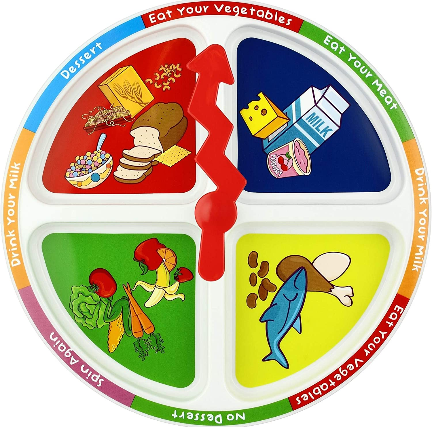 KidsFunwares 4-Square Meal Plate - Promotes Healthy Eating Habits - Teaches Portion Control - Encourages Creativity and Imagination at the Dinner Table - Great Gift for Kids - Dishwasher Safe
