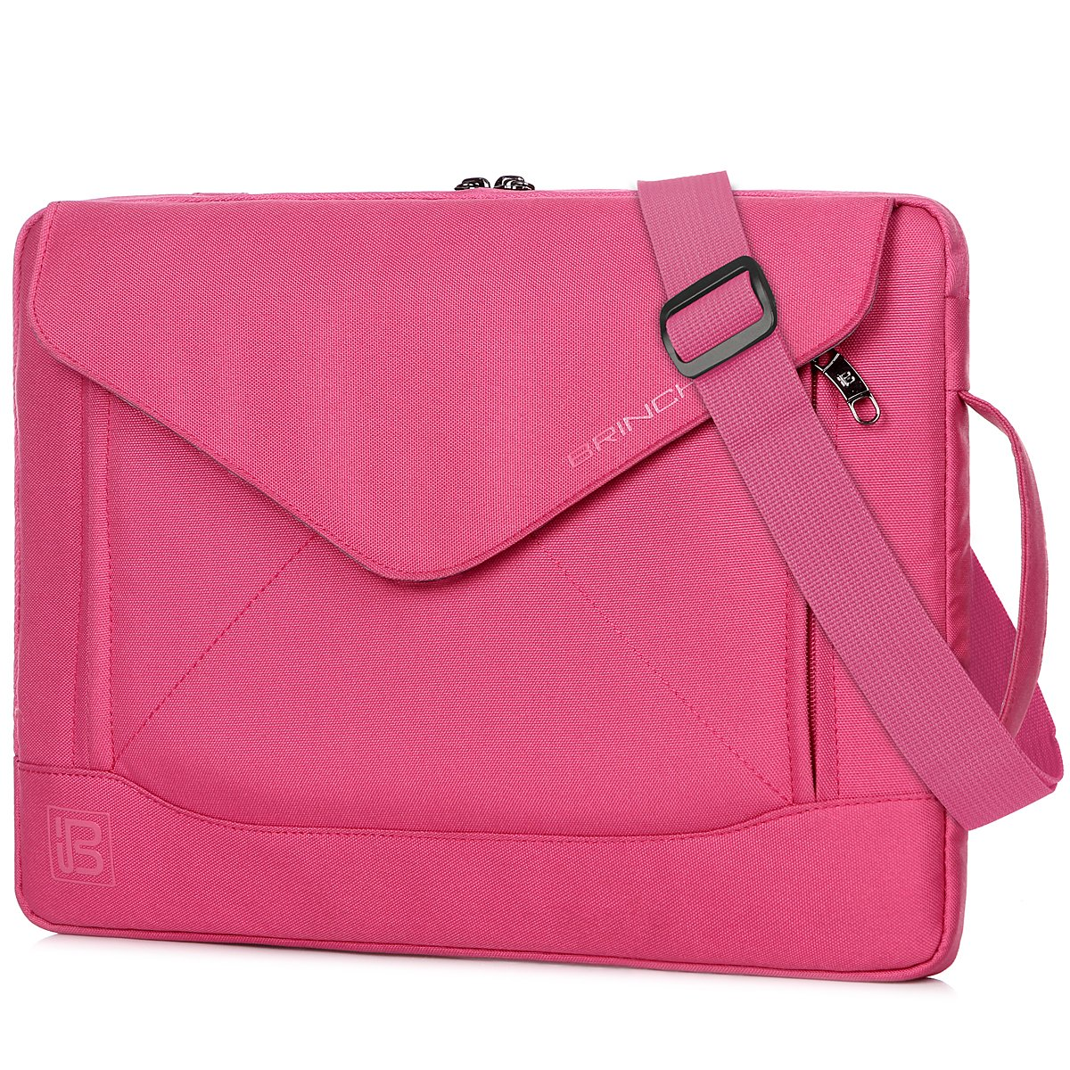 BRINCH Fashion Durable Envelope Nylon Fabric 15 - 15.6 Inch Laptop / Notebook / Macbook / Ultrabook / Tablet Computer Bag Shoulder Carrying Envelope Case Pouch Sleeve With Shoulder Strap Pockets and Card Slots (PINK)