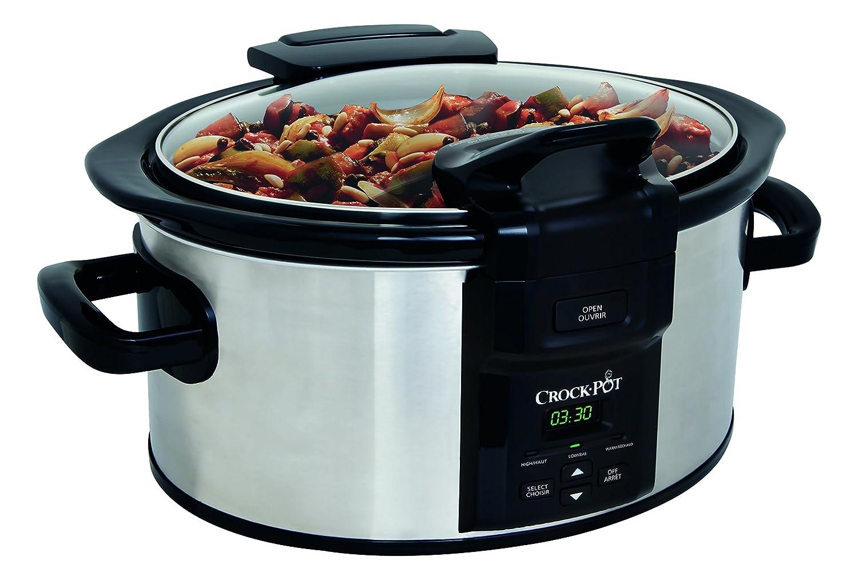 Crock-Pot SCCPVC600LHS-033 6 Quart Programmable Lift & Serve Hinged-Lid Slow Cooker, Stainless Steel