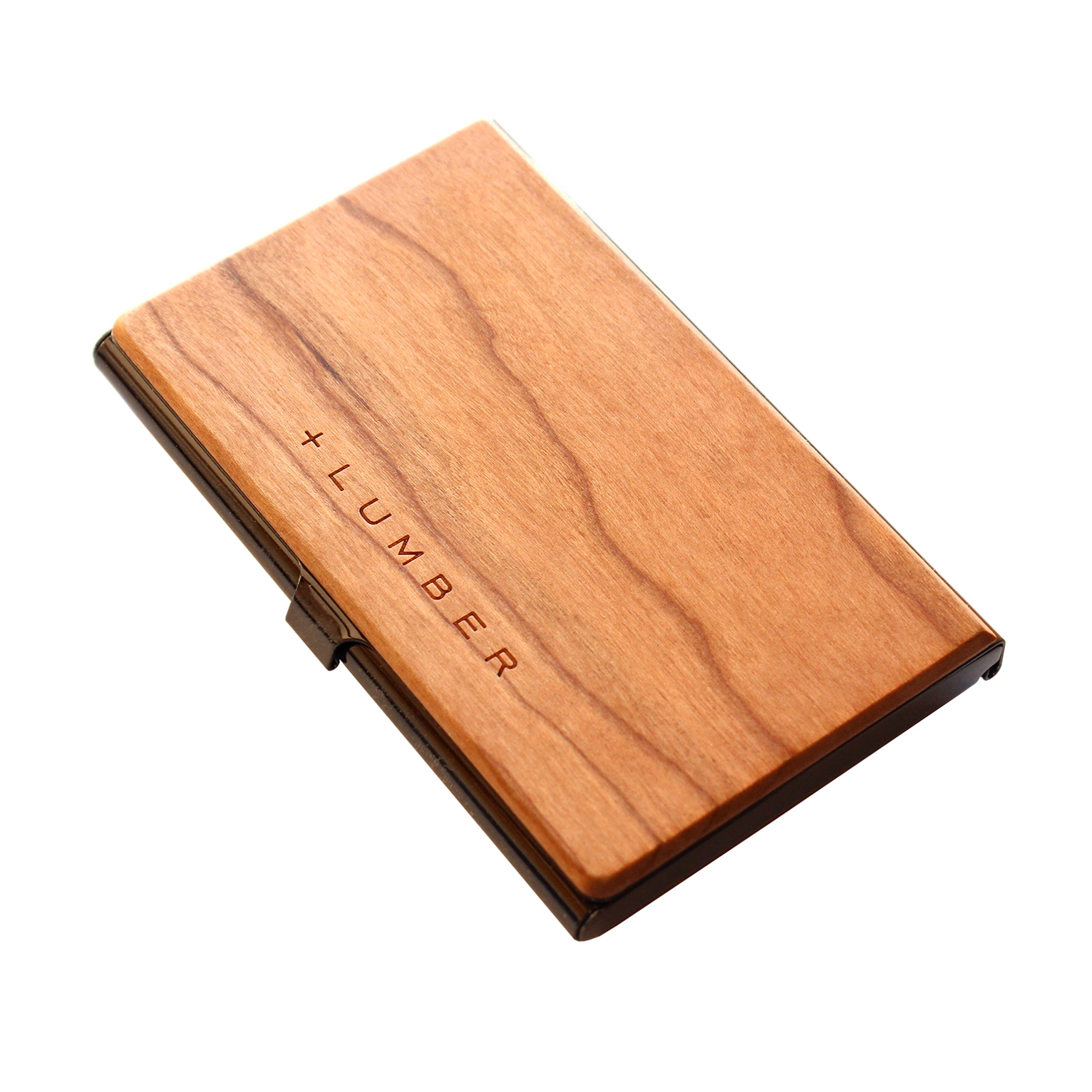 +LUMBER by Hacoa PL025 CARD CASE, Stainless Case for Business Cards with an Accent of Precious Wood (Cherry)