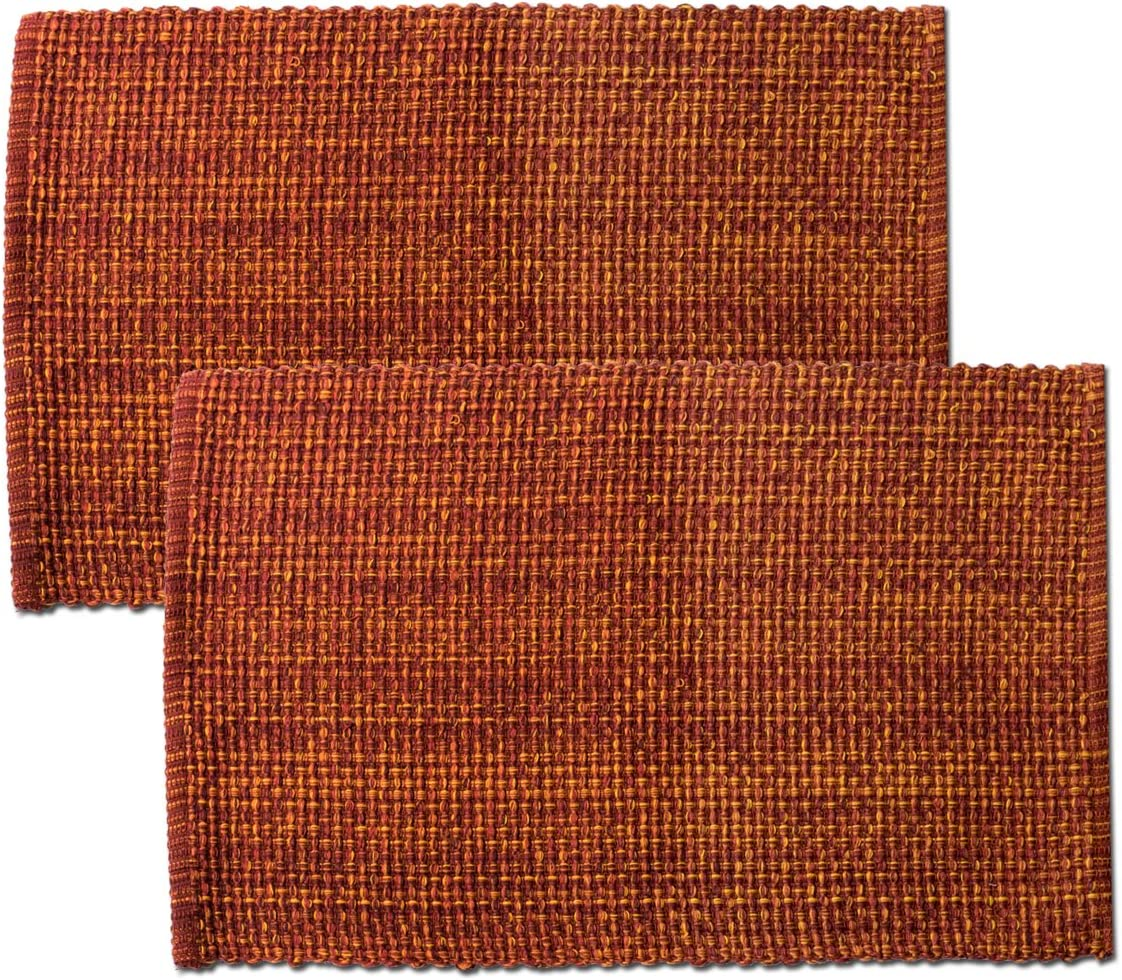 Sweet Home Collection Trends Two Tone 100 Cotton Woven Placemat 4 Pack 13 X 19 Rust Kitchen Dining Amazon Com