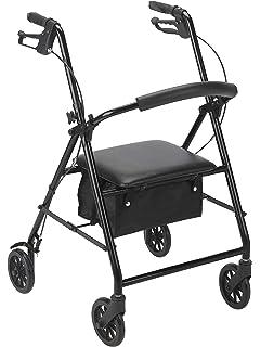 dmi ultra lightweight folding aluminum hemi rollator with padded  drive medical rollator with wheels black