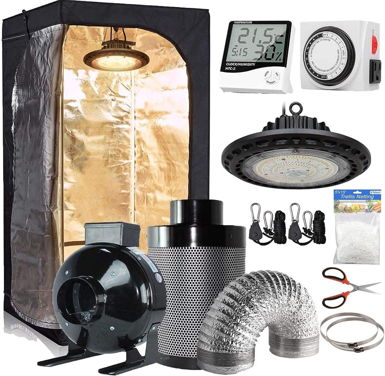 CDMALL Grow Tent Complete Kit 32''x32''x63'' Dark Room with Five Hydroponics Growing Setup Accessories+300W LED Grow Light + 4