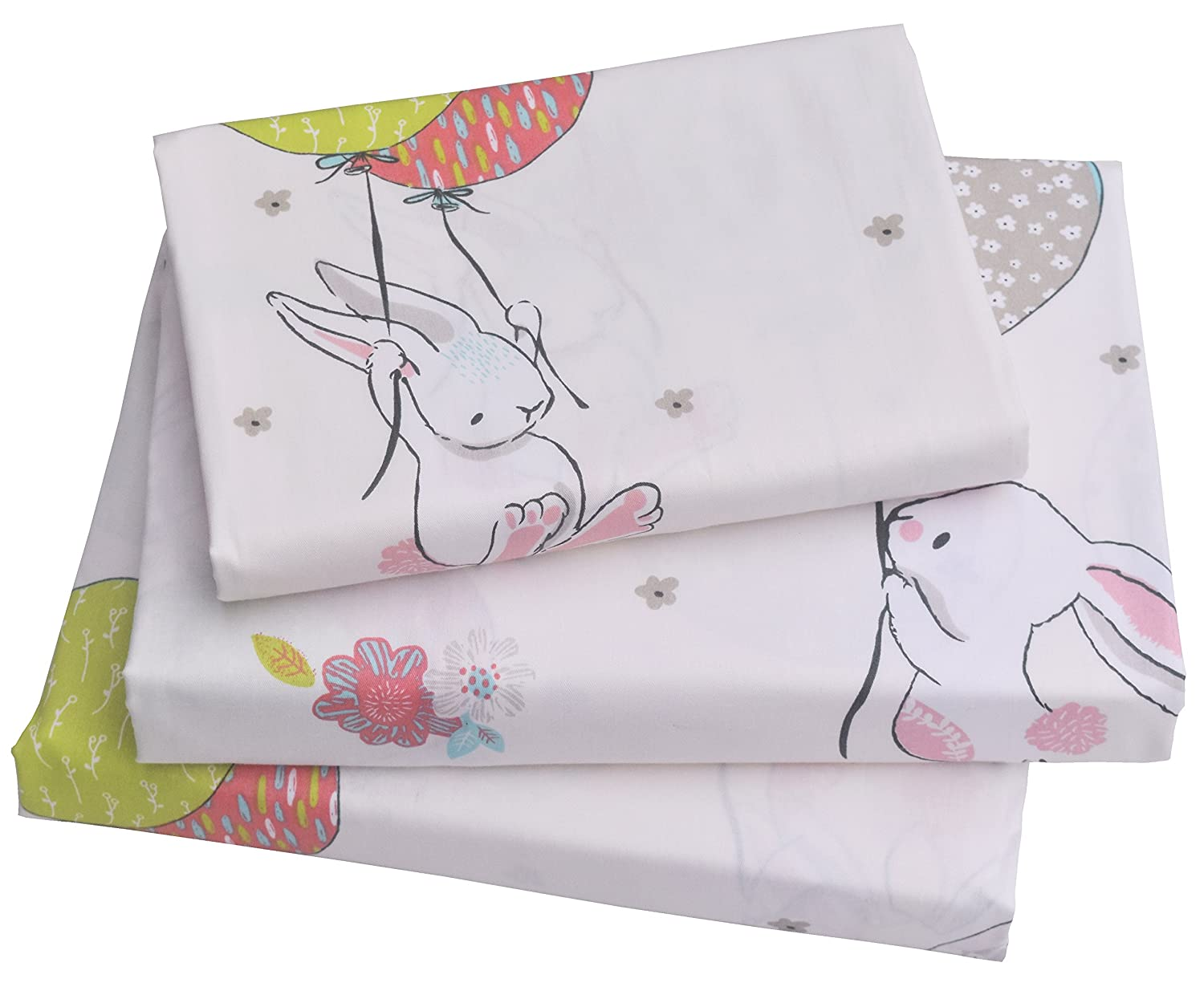 J-pinno Cute Cartoon Rabbit Bunny Twin Sheet Set for Kids Girl Children Bedding Set