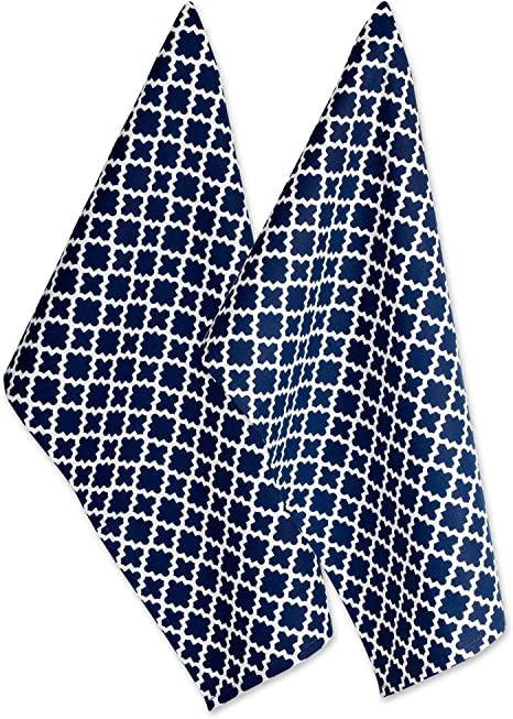 Amazon Com Dii Cotton Lattice Dish Towels With Hanging Loop 18 X 28 Set Of 2 Fast Dry Kitchen Tea Towels For Everyday Cooking And Baking Nautical Blue Home Kitchen