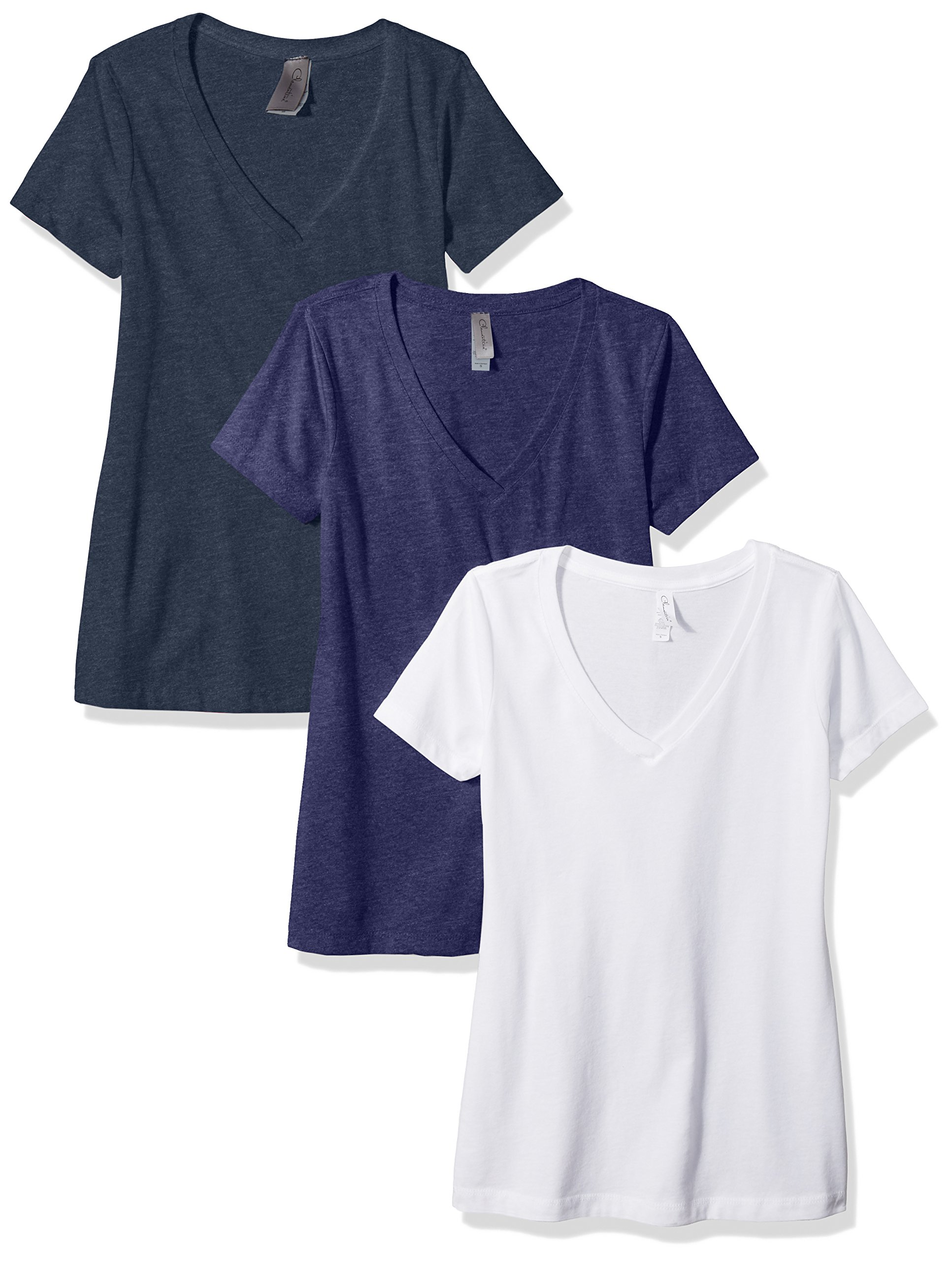 Clementine Apparel Women's Petite Plus Deep V Neck Tee (Pack of 3), White/Storm/Midnight Navy, XXL