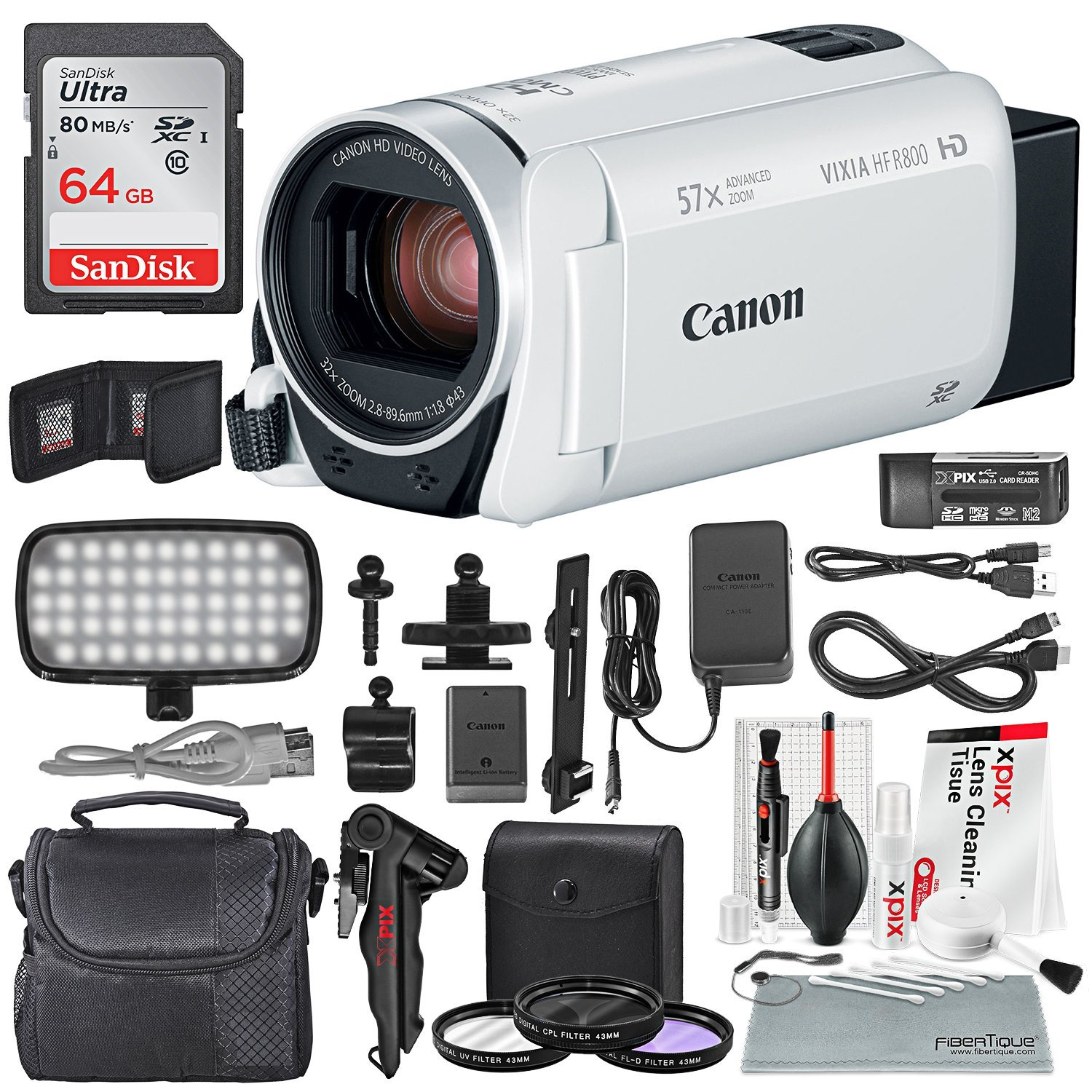Canon Vixia HF R800 HD Camcorder (White) Deluxe Bundle W/ Camcorder Case, 64 GB SD Card, 3 Pc. Filter Kit, LED Light Kit, and Xpix Cleaning Accessories by Photo Savings