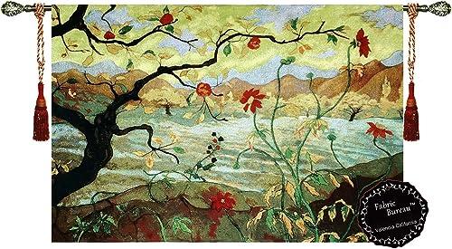 Fabric Bureau Beautiful Apple Tree 38 x27 Fine Tapestry Jacquard Woven Wall Hanging Art Decor