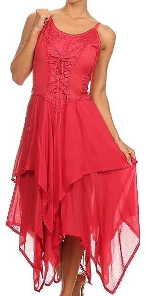 Sakkas 0131 Lady Mary Jacquard corsé estilo blusa ligera pañuelo Hem vestido - rojo - OSP