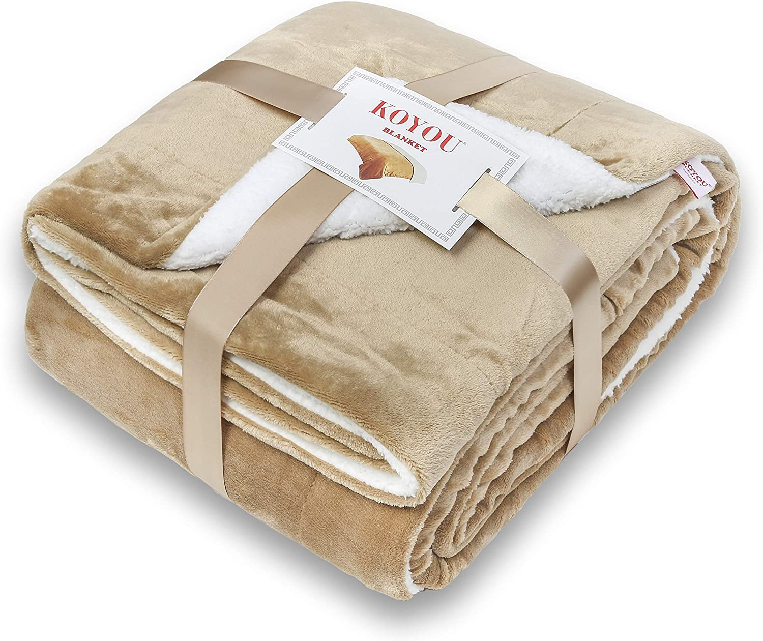 KOYOU Super Soft Light Brown Camel Plush Sherpa Borrego Blanket Throw Queen or Full Size Bed