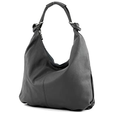 modamoda de - ital. Ledertasche Damentasche Hobo Bag Schultertasche Wildleder Groß T158, Präzise Farbe:Dunkelblau modamoda de - Made in Italy