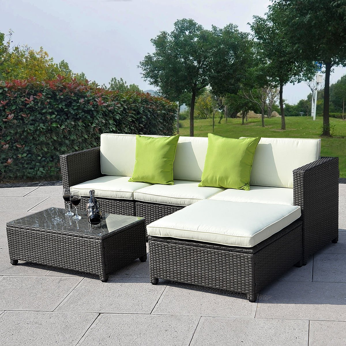 Amazon com   Goplus  Outdoor Patio 5PC Furniture Sectional PE Wicker Rattan  Sofa Set Deck Couch Black   Garden   Outdoor. Amazon com   Goplus  Outdoor Patio 5PC Furniture Sectional PE