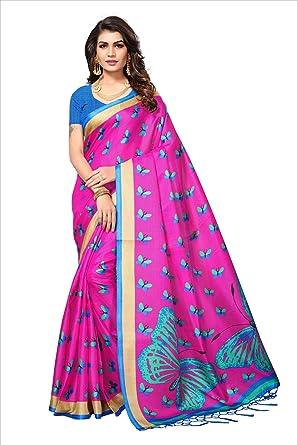 16c0a9d669 Kimisha Women's Butterfly Printed Art Silk Kalamkari Printed Saree (Pink):  Amazon.in: Clothing & Accessories