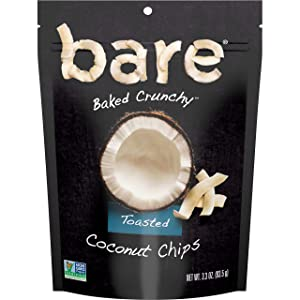 bare Baked Crunchy Coconut Chips, Toasted, 3.3oz Shareable Bag