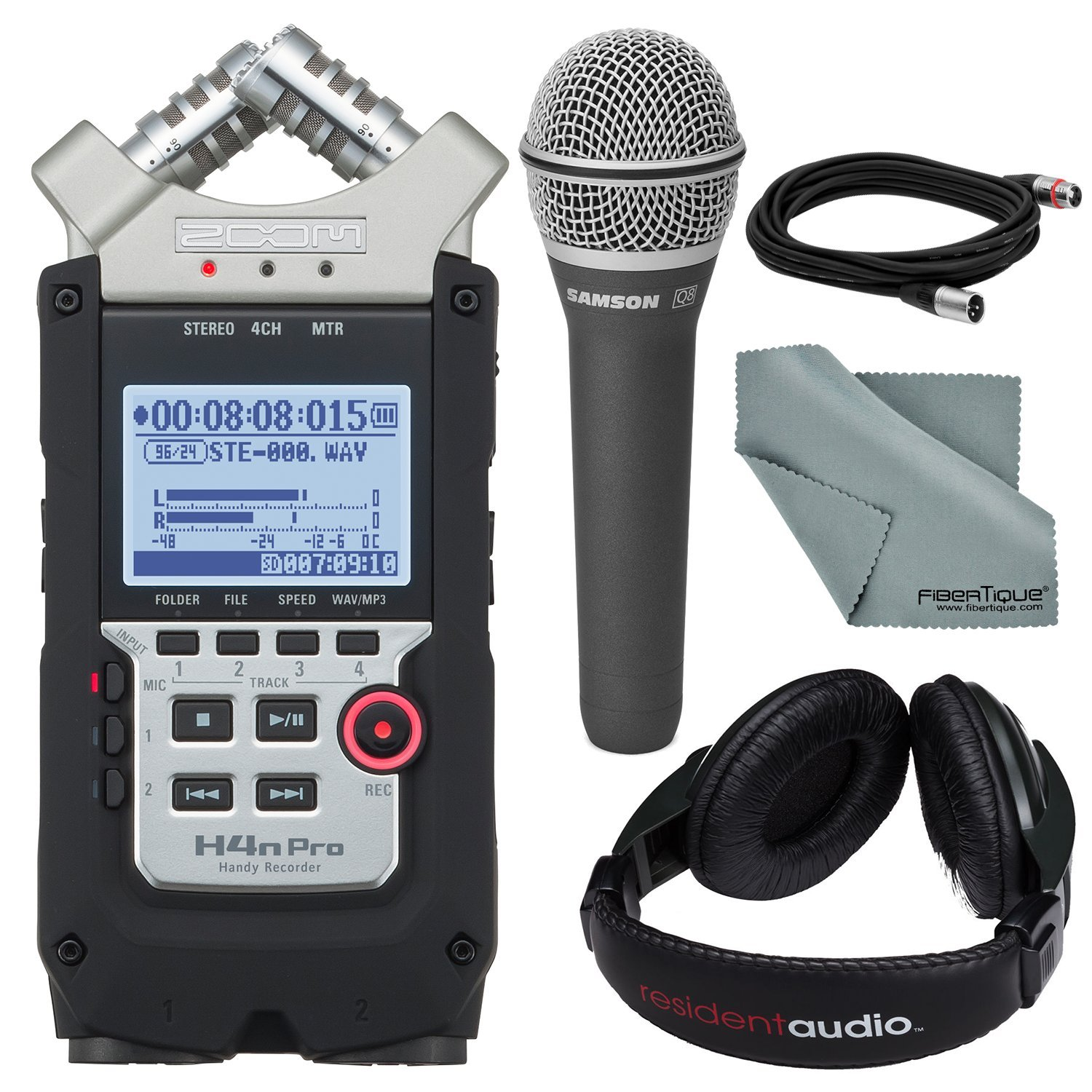 Zoom H4nPRO Four-Track Handy Audio Recorder along with Samson Q8 Professional Dynamic Vocal Microphone with Xlr Cable and Studio Headphones