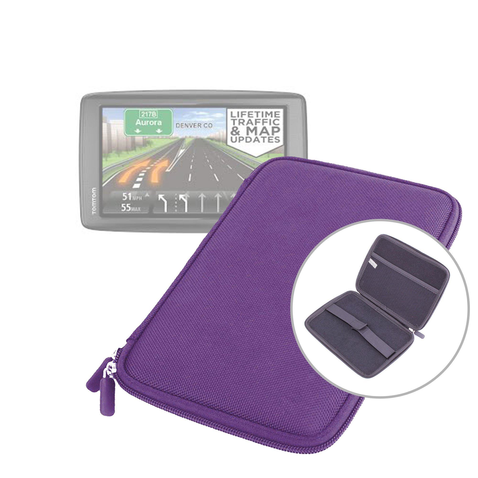 DURAGADGET Purple Shell Hard EVA Cover Case and Cover with Dual Zips for TomTom VIA 1605TM 6-Inch GPS Navigator with Lifetime Traffic & Maps & TomTom VIA 1605M GPS Navigator with Lifetime Maps