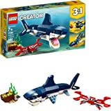 LEGO Creator 3in1 Deep Sea Creatures 31088 Make a Shark, Squid, Angler Fish, and Crab with this Sea Animal Toy Building…