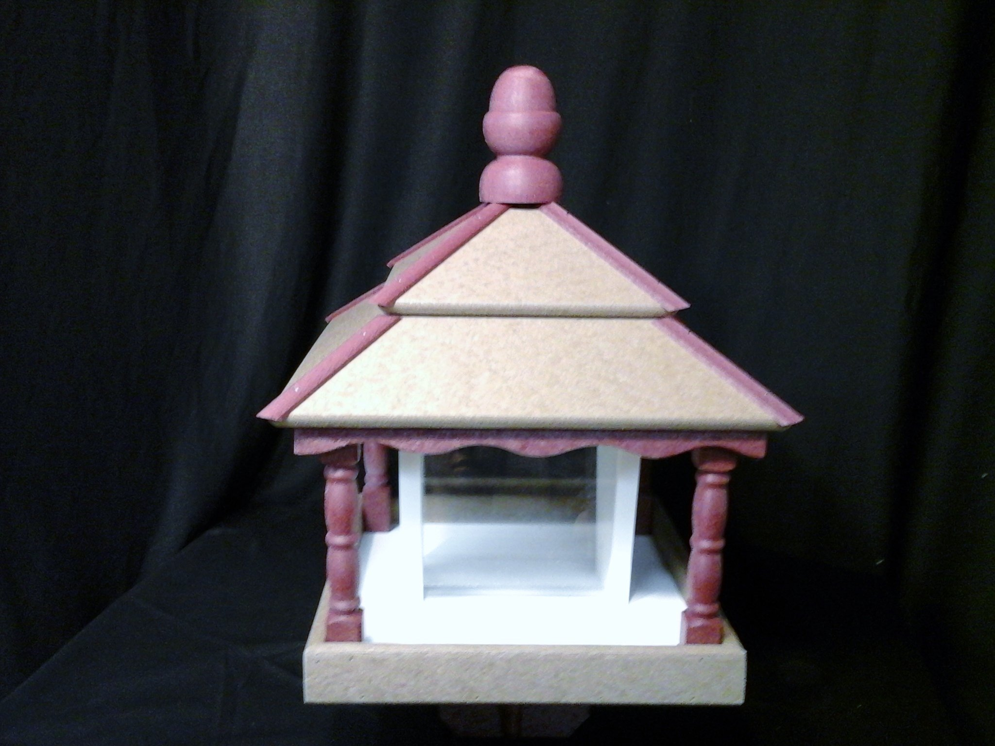 Square Poly Bird Feeder Amish Gazebo Handcrafted Homemade Weatherwood-Cherry-Wht