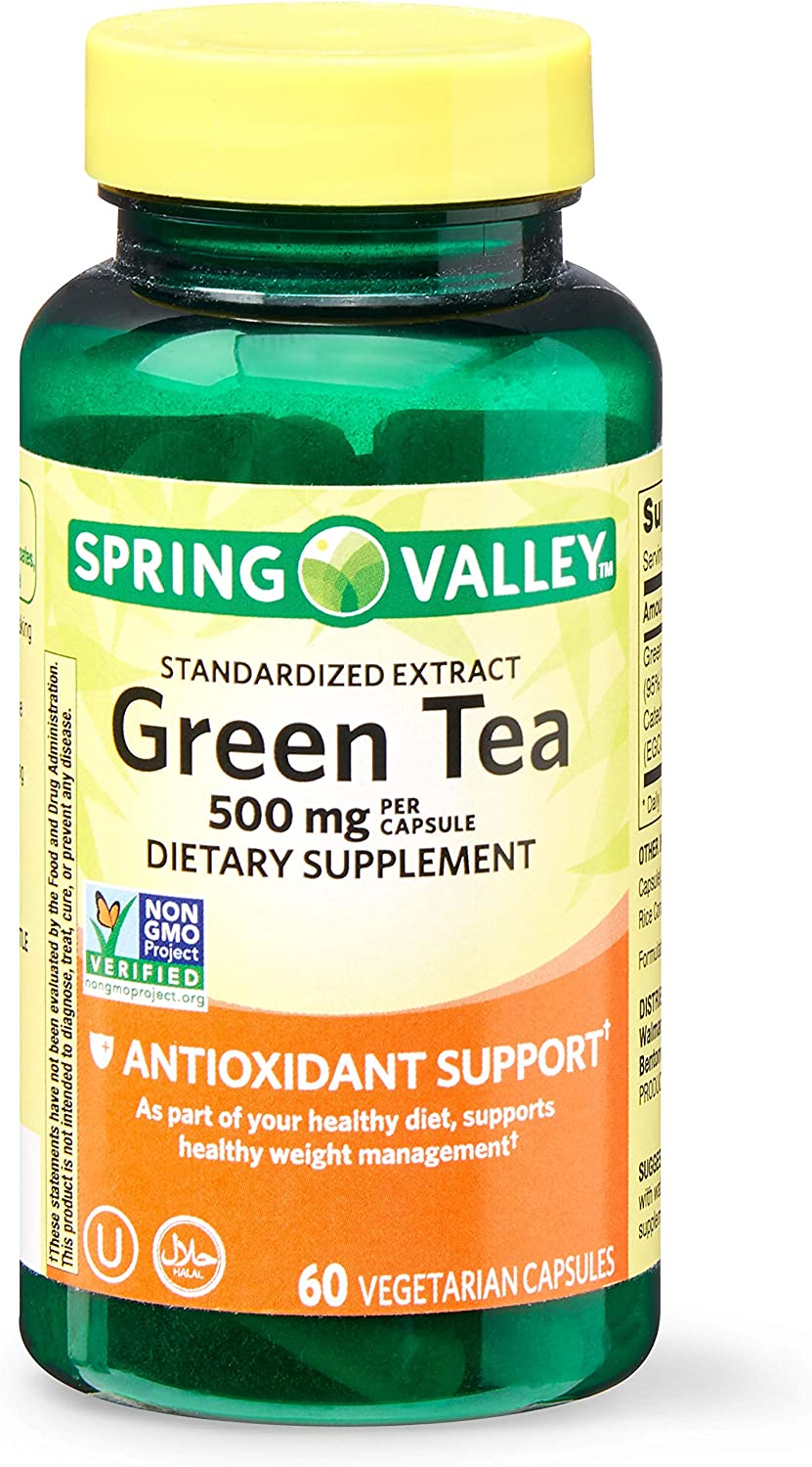 Spring Valley Green Tea Extract Vegetarian Capsules, 500 mg, 60 Count